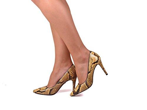 Milan Salón Pitón Con Mujer De Para Tacón Anna Zapatos Auténtica Piel Amarillo En gtwPWxd