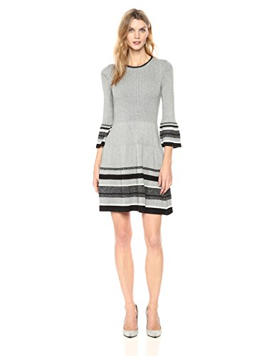 Jessica Howard Women's Ruffle Sleeve Fit and Flare Dress, Grey, M