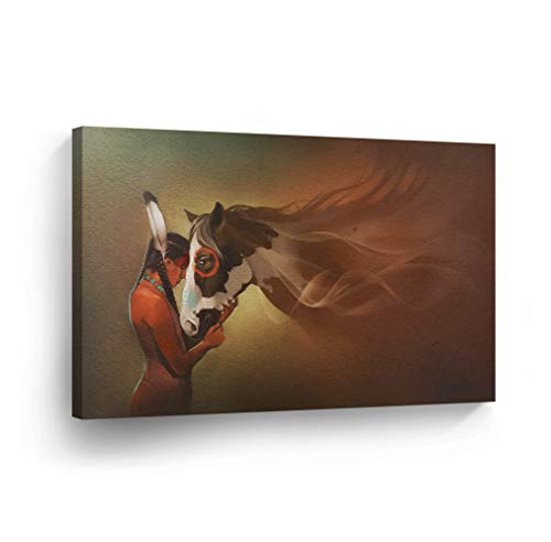 Handmade Native American Indian Horse - SmileArtDesign Indian Wall Art Native American Girl and Horse Love Canvas Print Home Decor Decorative Artwork Gallery Wrapped Wood Stretched and Ready to Hang -%100 Handmade in The USA - 19x28