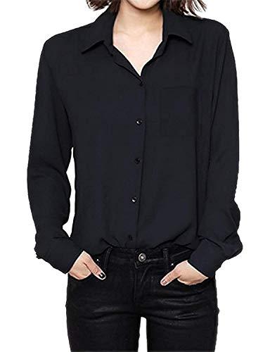 Large Loisir Chemisier Blouse Shirts Revers Schwarz Mode Boutonnage Unicolore Office Longues Haut Manches Affaires Style Blouse Chemise Elgante Simple Spcial Femme Dame Mousseline MgKBfg7T