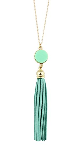 Fashion Mint (stylesilove Womens Girls Colorful Resin Alloy Leather Tassel Pendant Statement Necklace (Gold Mint))