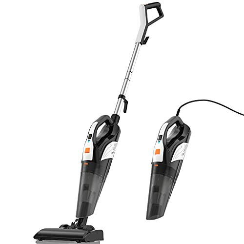 Stick-Vacuum-Cleaner Handheld-Portable Strong-Suction Powerful Lightweight :18KPa Cyclonic Corded 600W Washable Hepa Filter 4 in 1 for Home Pet Hair Carpet/Hard Floor Deep Easy Cleaning