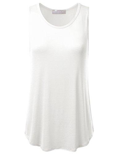 FLORIA Womens Basic Flowy Loose Fit Ultra Lightweight Soft Knit Sheer Tank Top IVORY (Flowy Sheer)