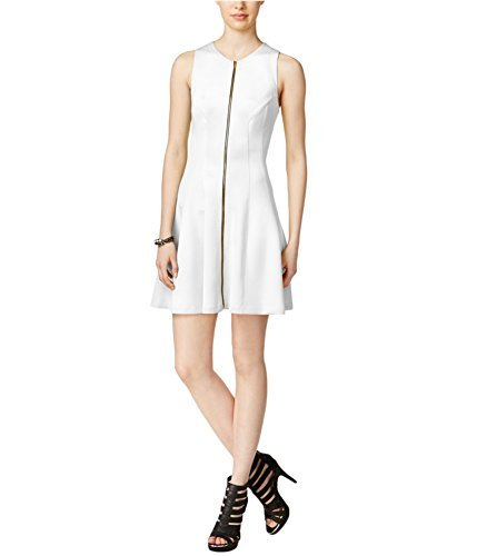 Bar III Women's Zip-Front Fit & Flare Scuba Dress (X-Small, Washed White) ()