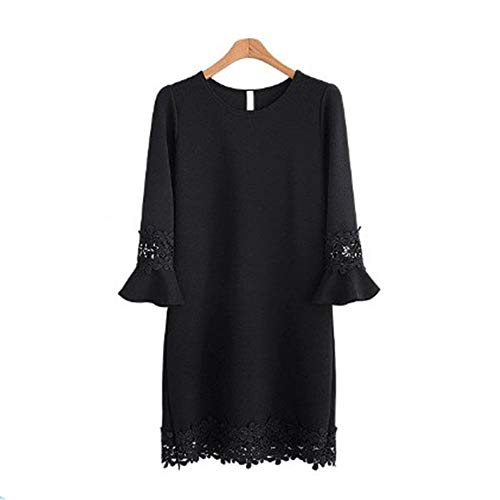 Size Plus Scollo Solid Party Lunghe Abito Casual Lungo Cocktail Mini Da Maniche Abiti In Tondo Pizzo Sera Xuanbao Nero Dress Donna Top Floreale pq0gYXXx