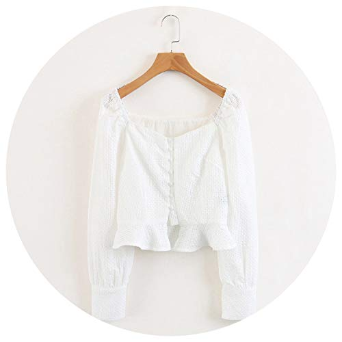 Women Vintage Sweetheart Neck Eyelet Blouse with Ruffles Hem Self-Covered Buttons Puffed Sleeve Top,White,M