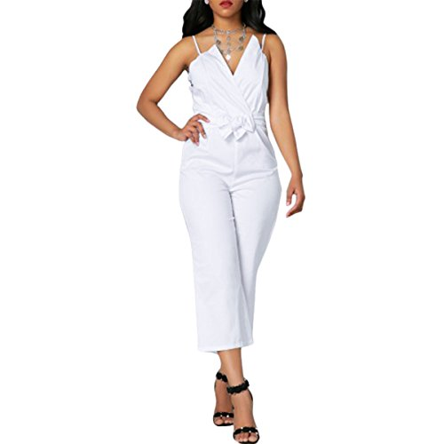 Leezeshaw Women Strappy V Neck Tie Waist Wide Leg Loose Cropped Jumpsuit Rompers (Tie Capri Cropped)