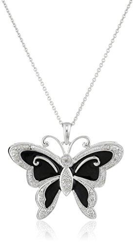 "Sterling Silver Diamond Enamel Butterfly Pendant Necklace (1/10 cttw), 18"""