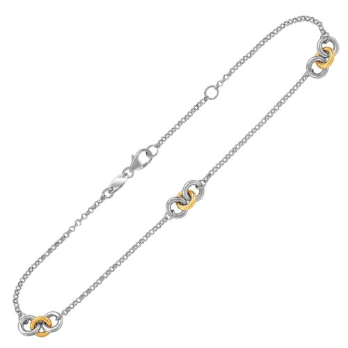 14K Yellow Gold and Sterling Silver Triple Ring Stationed Anklet by Jewels By Lux