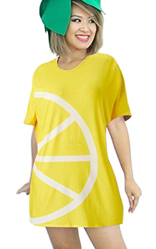 Outfit Ideas For Halloween (Goodstoworld Women T Shirts Funny Halloween Short Sleeve Costumes Funny Ideas Female All Hallows Day Outfit Lemon Fruit Slice Top Tees Yellow Print Loose Casual Swing Dress)