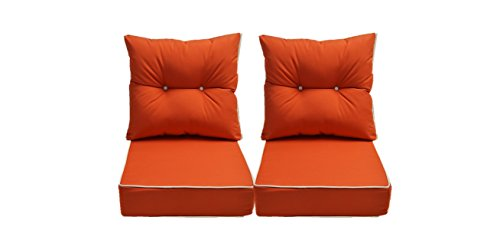 Sunbrella Canvas Melon / Coral Cushion w/ White Cording / Pipping - Set of 2 Seat and Back Cushions for Deep Seating Loveseat - Choose Size (24w X 24d)