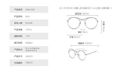 cercle métallique polarisées style lunettes vintage Vert inspirées soleil de rond Lennon Mercure en retro du UEC4CHqga