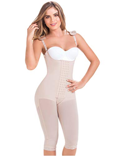 Body Boning Stretch Shaper Lace - MARIAE 9152 Full Body Shaper Postoperative Girdle | Fajas Colombianas Reductoras Beige