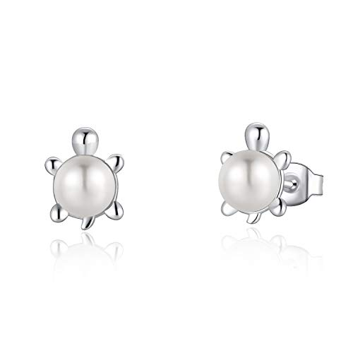 FANCIME Sterling Silver Freshwater Pearl Stud Earrings Animal Sea Turtle Earrings Tiny Small Pearl Fine Jewelry for Women Teen Girls