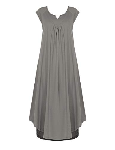 Ekouaer Cotton v Neck Cap Sleeve Pajamas Soft Lounge Long Nightgowns for Women Grey (Sleeve Gown Jersey)