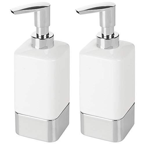 mDesign Square Ceramic Refillable Liquid Soap Dispenser Pump Bottle for Bathroom Vanity Countertop, Kitchen Sink - Holds Hand Soap, Dish Soap, Hand Sanitizer, Essential Oil - 2 Pack - White/Chrome