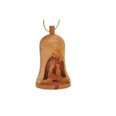 Olive Wood Bethlehem Nativity Bell Hanging Christmas Ornament by Bethlehem Gifts TM (Large (3.5