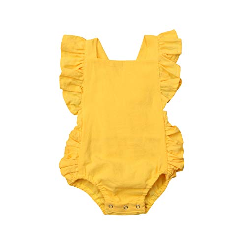 ITFABS Baby Girl Cotton Romper Bodysuit Clothes Ruffles Backless Solid Romper Jumpsuit Sleeveless One-Piece Sunsuit Summer Outfit (Yellow, 0-6 Months) ()