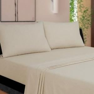 Solid Waterbed (Soft & Smooth 400 TC 4 PC King Size Attached Waterbed Sheet Solid Beige By Luxurious Sheets)