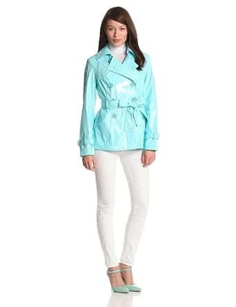 Via Spiga Women's Cropped Double Breasted Patent Rain Trench Coat, Aqua, X-Small