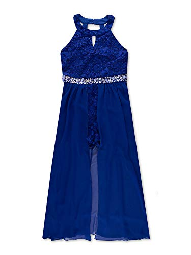 Speechless Big Girls High Neck Maxi Romper Dress, Royal Blue, 12
