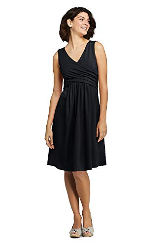 (Lands' End Women's Petite Wrap Front Knee Length Fit and Flare Dress Black)