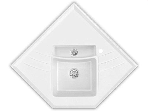 Systemceram Vega Eck Plus Polar Keramik-Spüle Handbetätigung Weiß Eckspüle Küche
