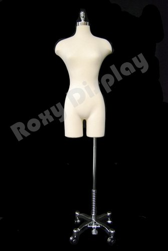 (JF-F2WLG+BS-WCDX) ROXYDISPLAYTM Female Body form, Straight Pinnable with Chrome Caster Base, metal neck cap.