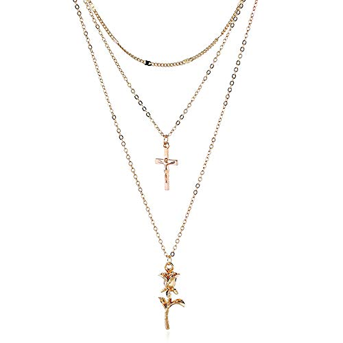 NOMSOCR Fashion Layered Cross Rose Pendant Choker Necklace Chain Jewelry for Women Girls (Gold)