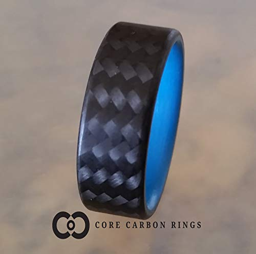 Men's or Women's 100% Carbon Fiber Twill Ring - Handcrafted -Lightweight - Black Band with Blue interior - Custom Band widths