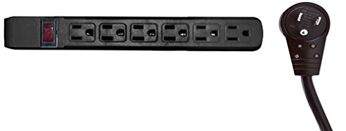 C&E 2 Pack, Surge Protector, Flat Rotating Plug, 6 Outlet, Horizontal Outlets, Plastic, Power Cord, 4 Feet, Black, CNE470936
