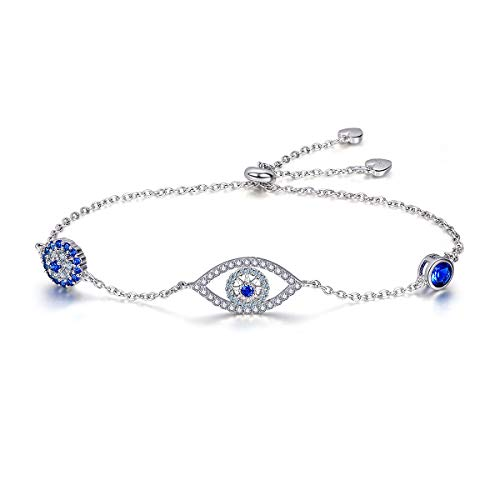 (WOSTU 925 Sterling Silver Evil Eye Bracelet Women's Fashion Luck Bracelets Friendship Bracelet Gifts for)