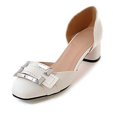LvYuan Mujer-Tacón Robusto-Zapatos del club-Sandalias-Boda Vestido Fiesta y Noche-Cuero Patentado-Negro Rojo Blanco Gris Melocotón White