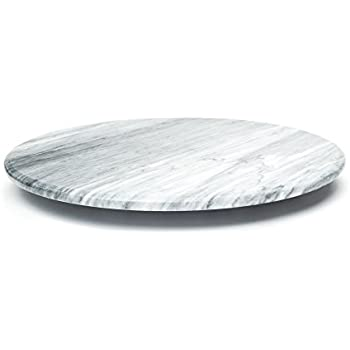 Marble Stone Lazy Susan for Table, Round Spinning Serving Plate, 12-Inch, White