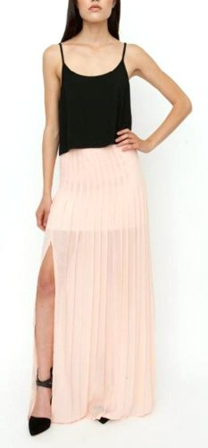Blaque Label Women's Pleated Maxi Skirt with Slit M Nude by Blaque Label