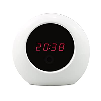 SpyGear-Sappywoon Hidden Camera Alarm Clock HD 1080P Security Camera Motion Activated Video Recorder Nanny Spy Camera (White) - SAPPYWOON