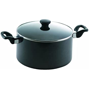 Mirro 47008 Get A Grip Nonstick Stockpot with Glass Lid Cover Cookware, 8-Quart, Black