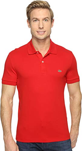 Lacoste Men's Short Sleeve Pima Jersey Interlock Regular Fit Polo, DH2050, Red, XX-Large