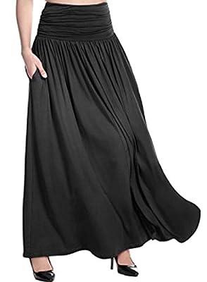 VITryst-Women Ankle Length Pull On Style Skater Skirt with Pockets