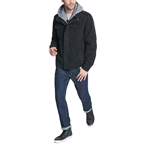 Levi's Men's Washed Cotton Military Jacket with Removable Hood (Standard and Big & Tall) 6