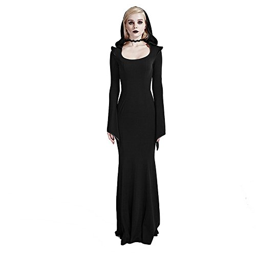 Gothic Womens Bodycon Dresses Punk Gowns Hood Sexy Party Dress Victorian Black Long Maxi Dresses (M-L, Black)