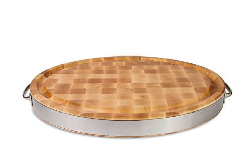 John Boos Maple Wood End Grain Reversible Oval Cutting Board with Juice Groove, Stainless Steel Band and Handles, 24 Inches x 18 Inches x  2.5 Inches by John Boos