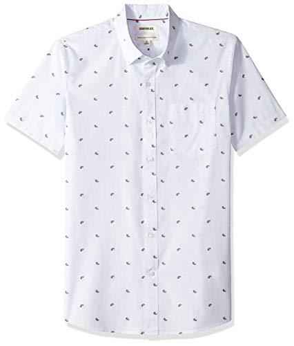 Goodthreads Men's Standard-Fit Short-Sleeve Dobby Shirt, -light blue paisley, Large ()