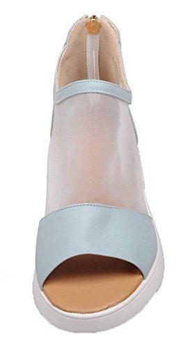 Bleu Bas Mélangee Talon AalarDom Ouverture Sandales Petite Matière Femme Zip à 17qHTwHvX