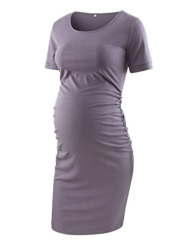 Liu & Qu Women's Maternity Bodycon Ruched Side Dress Casual Short Sleeve Dress for Daily Wearing Or Baby Shower Purple Grey ()