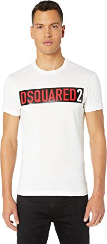 DSQUARED2 Men's Shiny Logo Cool Fit T-Shirt White Large