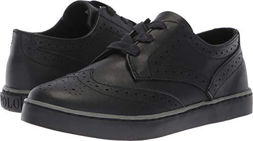 Polo Ralph Lauren Kids Boys' Alek Oxford Sneaker, Black Burnished, M010 M US Little - Burnished Kid Footwear