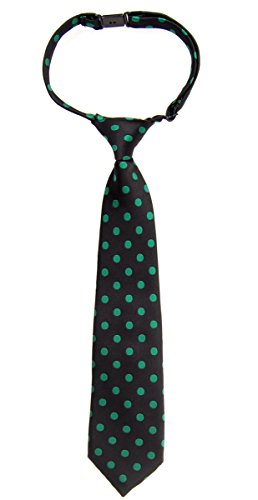 Retreez Classic Polka Dots Woven Microfiber Pre-tied Boy's Tie - Black with Green Dots - 6 - 18 months