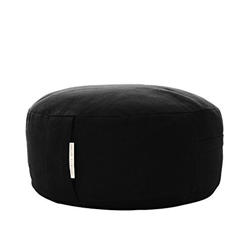 Great Gift! - Yoga Meditation Cushion Zafu Pillow With Buckwheat Fill - Organic Cotton - Color Black. With Free - Dharma Von Zipper