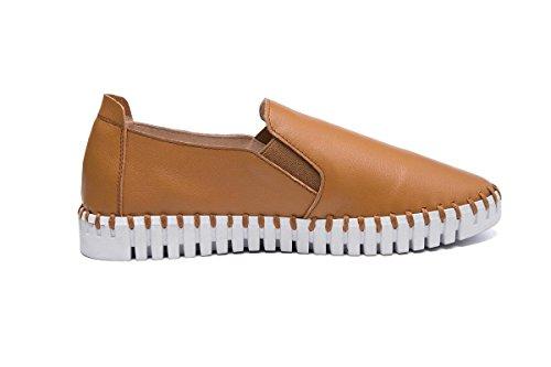 Zapatos eur38uk55 Salvaje Pieles Nvxie Bombas Eur Señoras Redonda Tacón De Únicos Pisos 39 Piel Antideslizantes Ocio Genuina Brown Perezoso Primavera Trabajo Nuevos Otoño Mujeres Bajo Cabeza Moda XwfqFwv